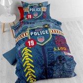 1 persoons katoenen jongensdekbedovertrek blauw met politie