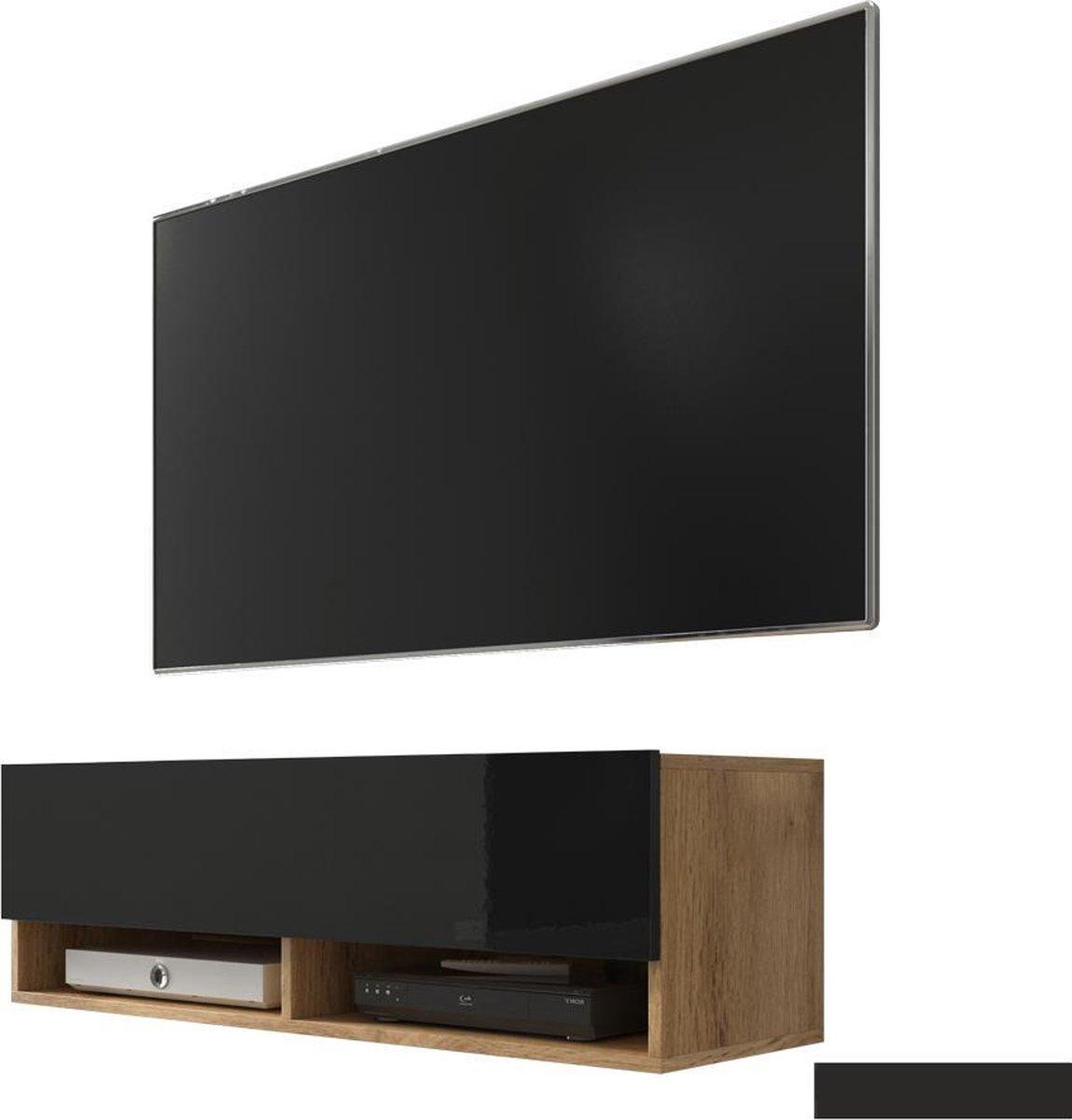 Maison's Tv meubel – Tv Kast meubel – Tv meubel – Tv Meubels – Tv meubels Hout – Eiken hout  – Bruin – Zwart –Wander – No LED – 100x30x32,5 kopen