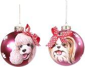 Goodwill Grote Kerstballen met hondenkop poedel en shit tzu 10 cm - roze/rood - 2 stuks