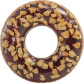 Opblaasbare chocolade donut zwemband 114 cm - XXL - Zwembenodigdheden - Zwemringen - Eet/snoep thema - Donut zwembanden groot voor volwassenen