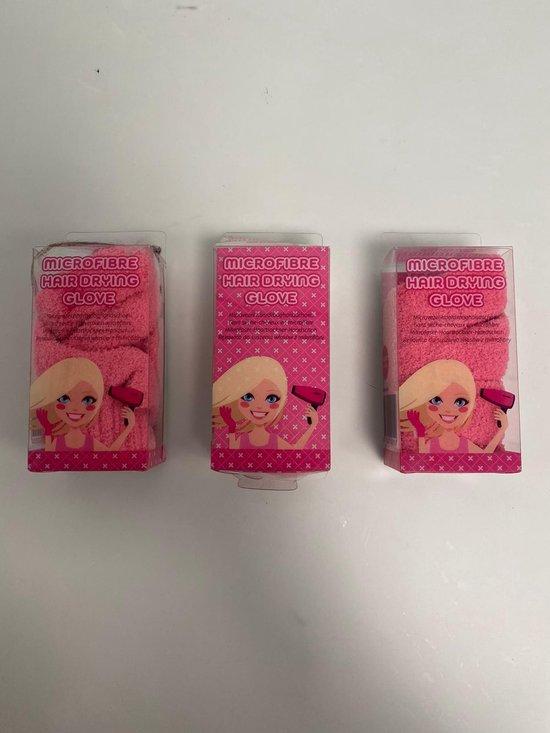 Microvezel haardroging handschoenen - voor het drogen van je haar - set van 3 stuks (roze)