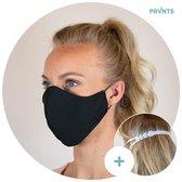 Mondkapje wasbaar + gratis lengte verlenger - Mondmasker - Face Mask - Gezichtsmasker - Gezichtsbescherming - met elastiek - ecologisch - 2-laags - volwassenen - zwart