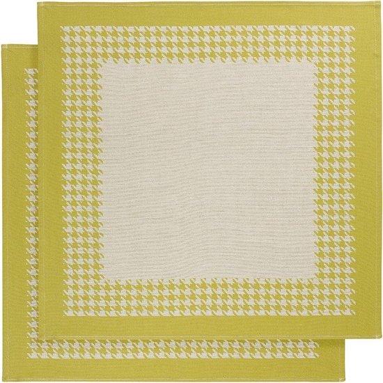 De Witte Lietaer Pied de Poule - Theedoek - 66x66 cm - Set van 2 - Yellowgreen