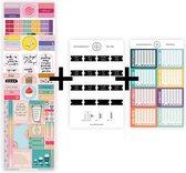 """Uitgebreid stickerpakket voor jouw planner, agenda of bullet journal, met ZWARTE maandtabs, watertracker stickers en """"positiviteit die blijft plakken""""-stickers."""