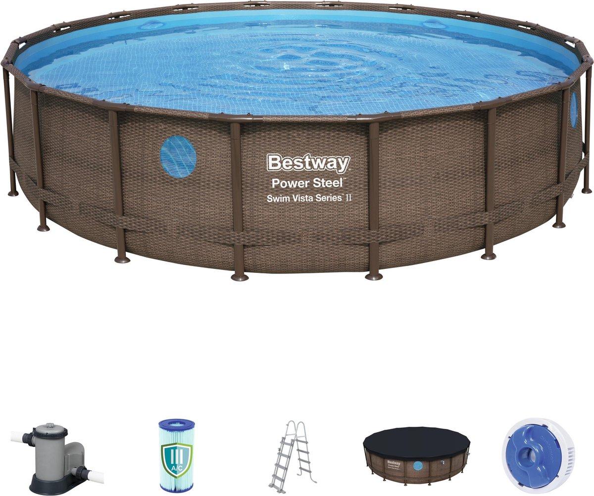 Bestway zwembad Steel Pro Max rotan 549x122 cm met filterpomp, afdekzeil en ladder