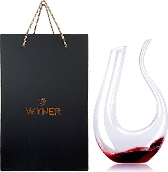 WYNER Puglia - Luxe Wijn Decanteerder incl. Gratis Cleaning Pearls - in Luxe GiftBox - Decanteer Karaf  - Wijn Karaf - Wine Decanter - Wijnbeluchter - Karaf voor Wijn - Wijn Accessoires - Wijn Set