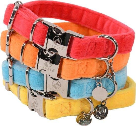 Pepets – Halsband En Leiband Hond – Set Hondenhalsband En Hondenriem – Turquoise – Fluweel – Fluwelen – Velvet – maat L