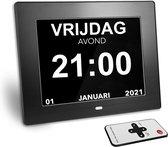 Digitale Dementieklok || Kalenderklok - Alzheimer klok - klok met datum en dag - Medicijn wekker - wandklok – kalender dementie klok - zwart