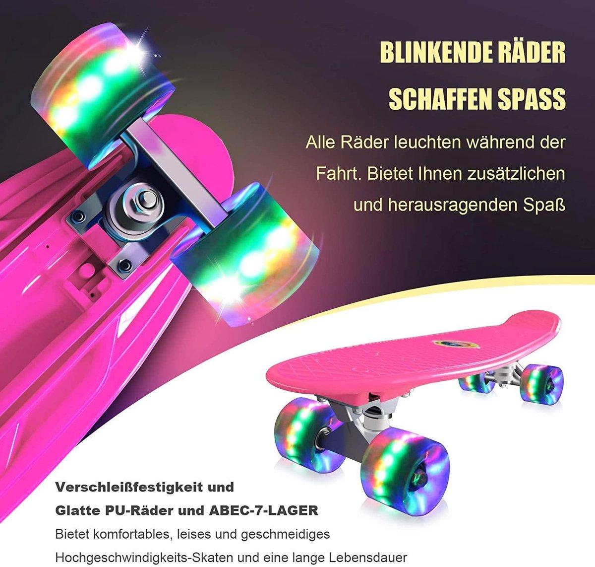 Skateboards Compleet 55 cm Mini Cruiser Retro Skateboard voor kinderen Jongens Meisjes Jeugd Volwassenen Beginners, LED Knipperende Wielen met Alles-in-één Skate T-Tool