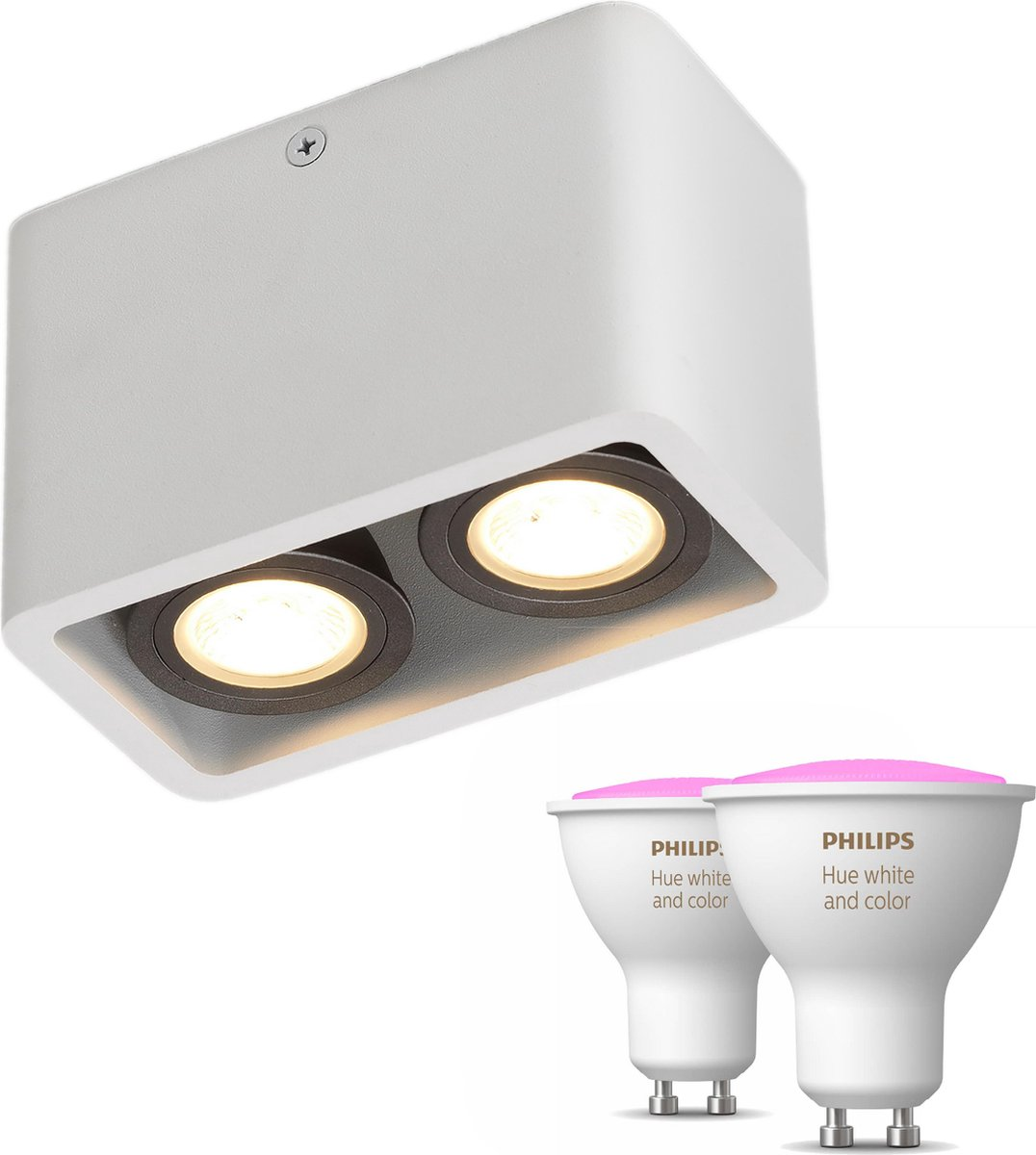 Artedelight Moni opbouwspot - Wit - 2 lichtpunten - Incl. Philips Hue White & Color Ambiance Gu10