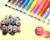 Afbeelding van Acryl stiften 0,7mm tip - Incl. Tekensjabloon - Stiften -  Markers - Verfstiften - Acrylverf - Acrylstiften - Krijtstiften - Happy Stones - Stenen schilderen - Tekenset - 12 Kleuren