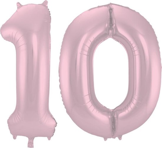 Cijfer 10 Pastel Roze Metallic Mat – 86 cm