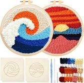 Happy Goods® Punch Needle pakket met 2 designs ZEEZICHT - Borduurring met borduurnaalden en borduurgaren - 18 kleuren set – Compleet creatief hobby voorbedrukte borduurpakket voor volwassenen
