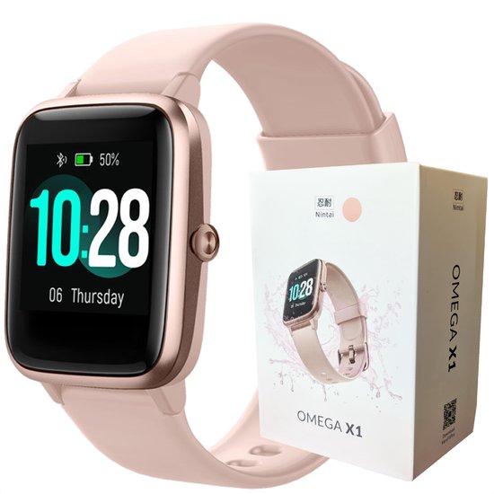 Stappenteller Horloge Dames - Rose Goud/Roze - Activity Tracker Waterdicht - Slaapmeter - Nintai® Omega X1