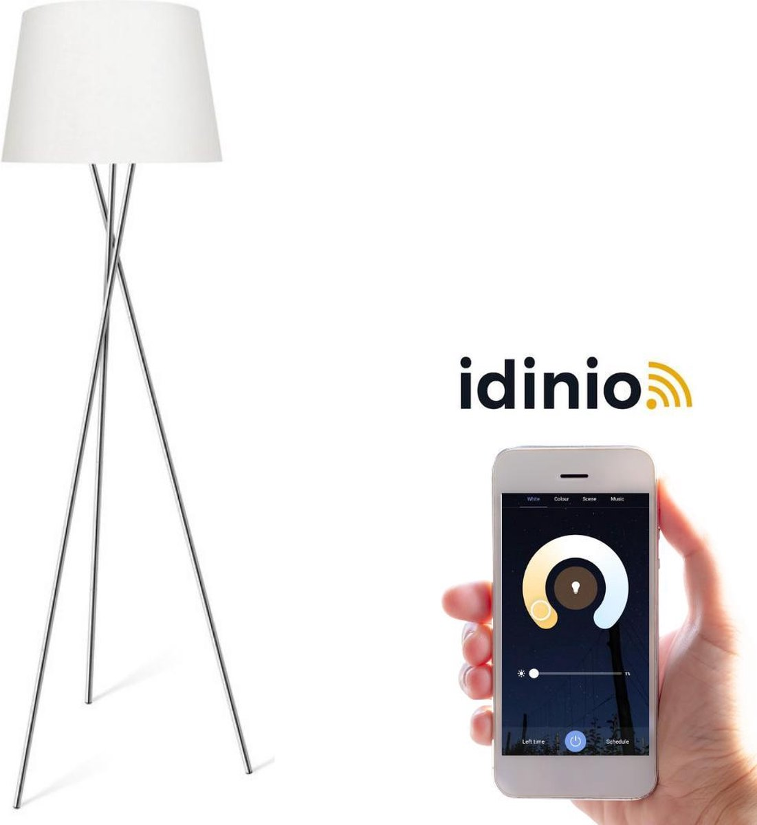 Proventa Smart vloerlamp - Dimbaar & bedienbaar via App - warm wit - Wit