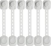 Kinderslot kastjes - Zelfklevend kinderslot - Dubbel op slot - Kinderslot op maat - Baby veiligheid - 6 stuks - Wit