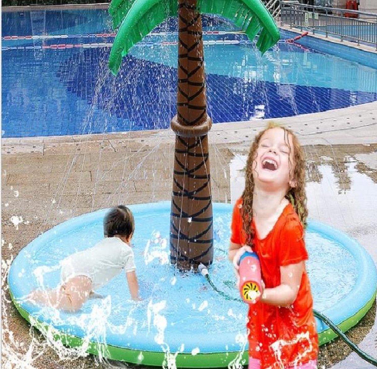 Zwembad - Waterspeelmat met sproeier - Fontein - Palmboom - Waterspeelgoed - Buitenspeelgoed - Opblaasbaar - Kinderbad - Peuterbad