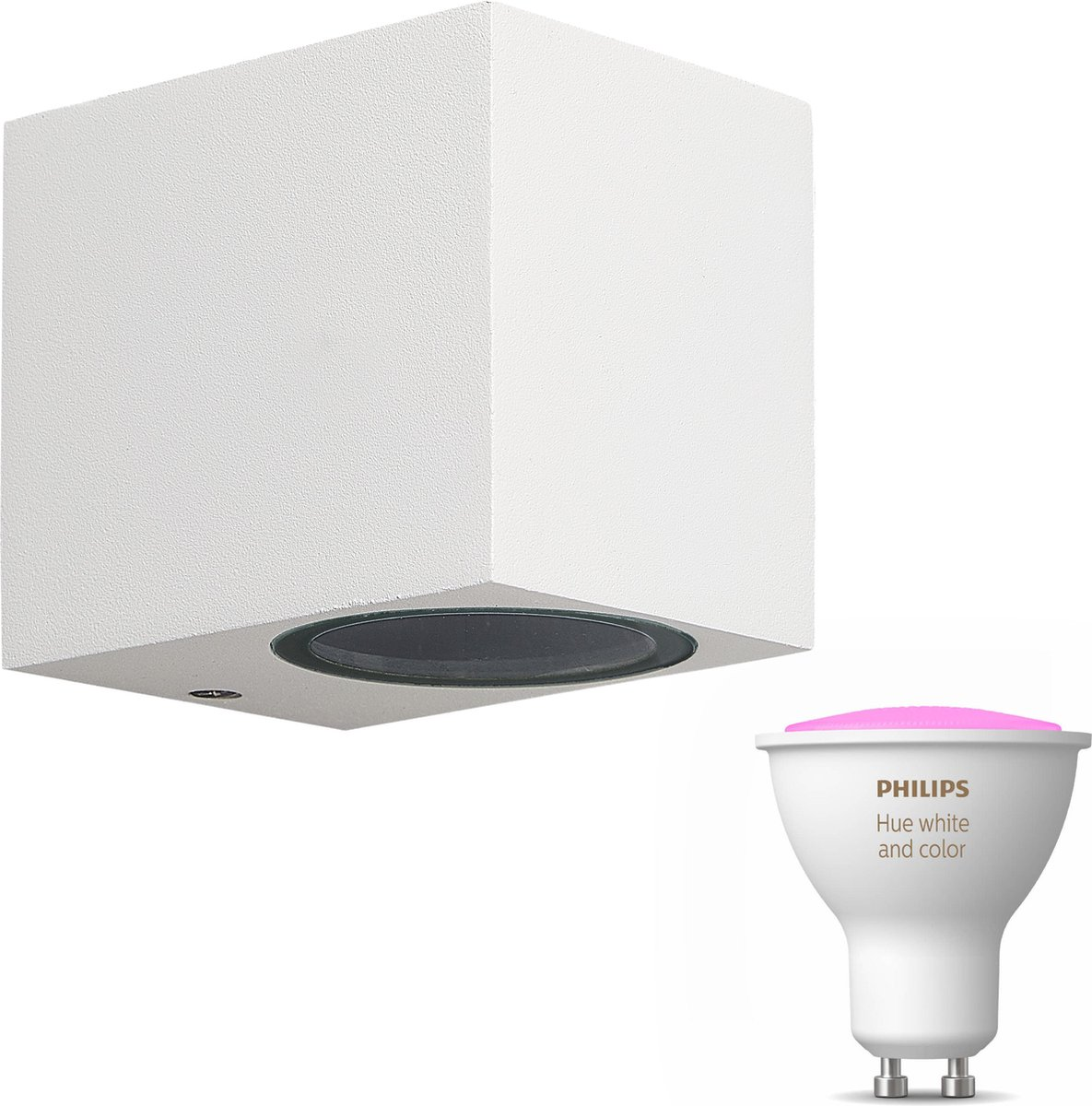 Mantra Kandachu wandlamp vierkant - wit - 1 lichtpunt - Incl. Philips Hue White & Color Ambiance Gu10 (geschikt voor buitengebruik)