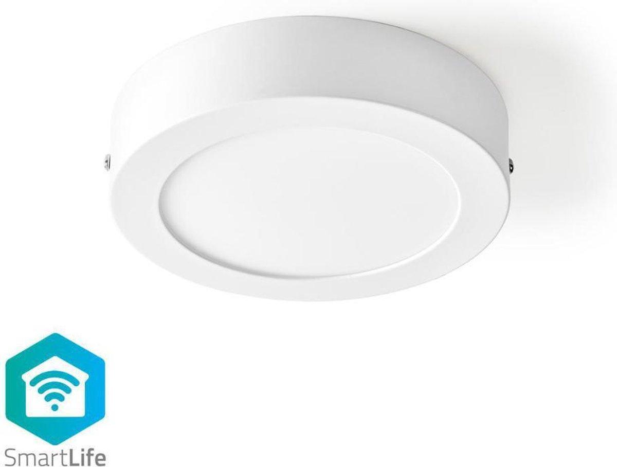 Nedis   WiFi Smart Plafondlamp   Rond Diameter 17 cm   Warm tot Koel Wit   800 lumen   60W Vervanging   12 W   Slank Design   Aluminium