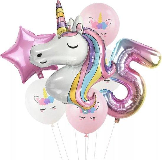 Unicorn ballon - Dieren ballon - 5 jaar - Kinderfeestje - Vijf jaar - Verjaardagfeest - ballonnen pakket - Kinderfeestje pakket - Unicorn ballonnen pakket