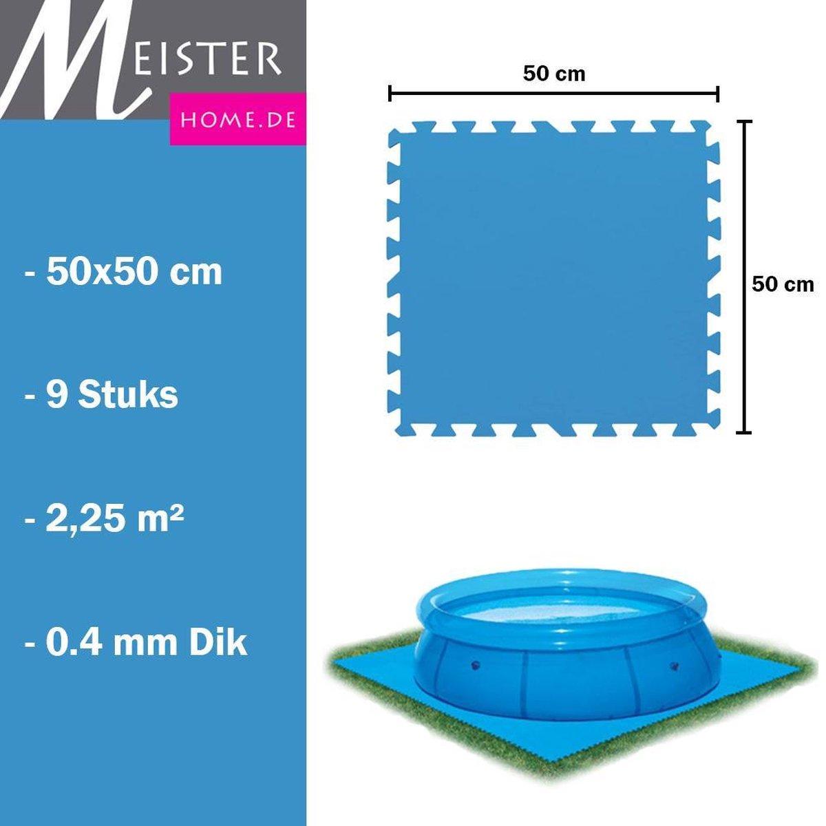 Meisterhome® Zwembad tegels - Set van 9 stuks - 50x50 cm - 2,25 m² - Bodem bescherming - Ondertegels - Ondervloer - Ondergrond - Foam tegels - Matten - Puzzelmat voor zwembad - Zwembadtegels