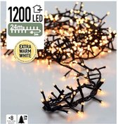 Kerstlampjes Microcluster Kerstboomverlichting - 24 meter - Warm wit - 1200 LED-lampjes