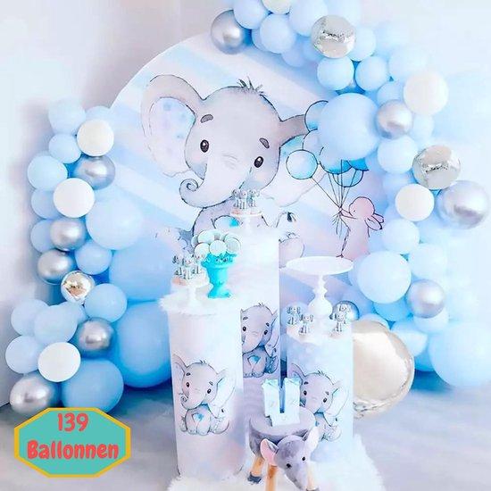 Baloba® Ballonnenboog Lichtblauw, Wit en Zilveren ballonnen - Feest Versiering Pakket - Verjaardag Bruiloft Decoratie - 139 Ballonnen