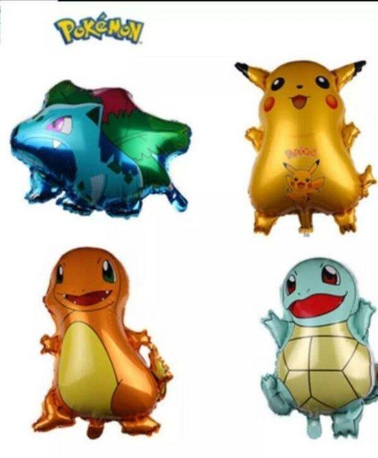 Pokémon - 4x folie ballonnen - Bulbasaur, Pikachu, Charmander, Squirtle (kawaii, animé, manga)