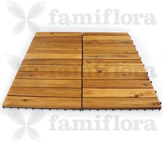 Houten terrastegels acacia 30x30cm - rechte lat - lichtbruin - 9 stuks = 0.81m2