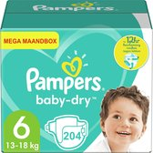Pampers Baby Dry - Maat 6 - Mega Maandbox - 204 luiers