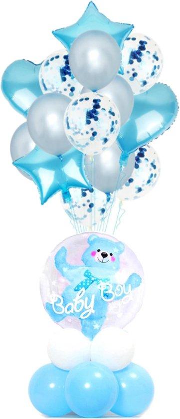 Set 23 Baby ballonnen Beer - thema ballonnen - geboorte - babyshower - gender reveal - Blauw