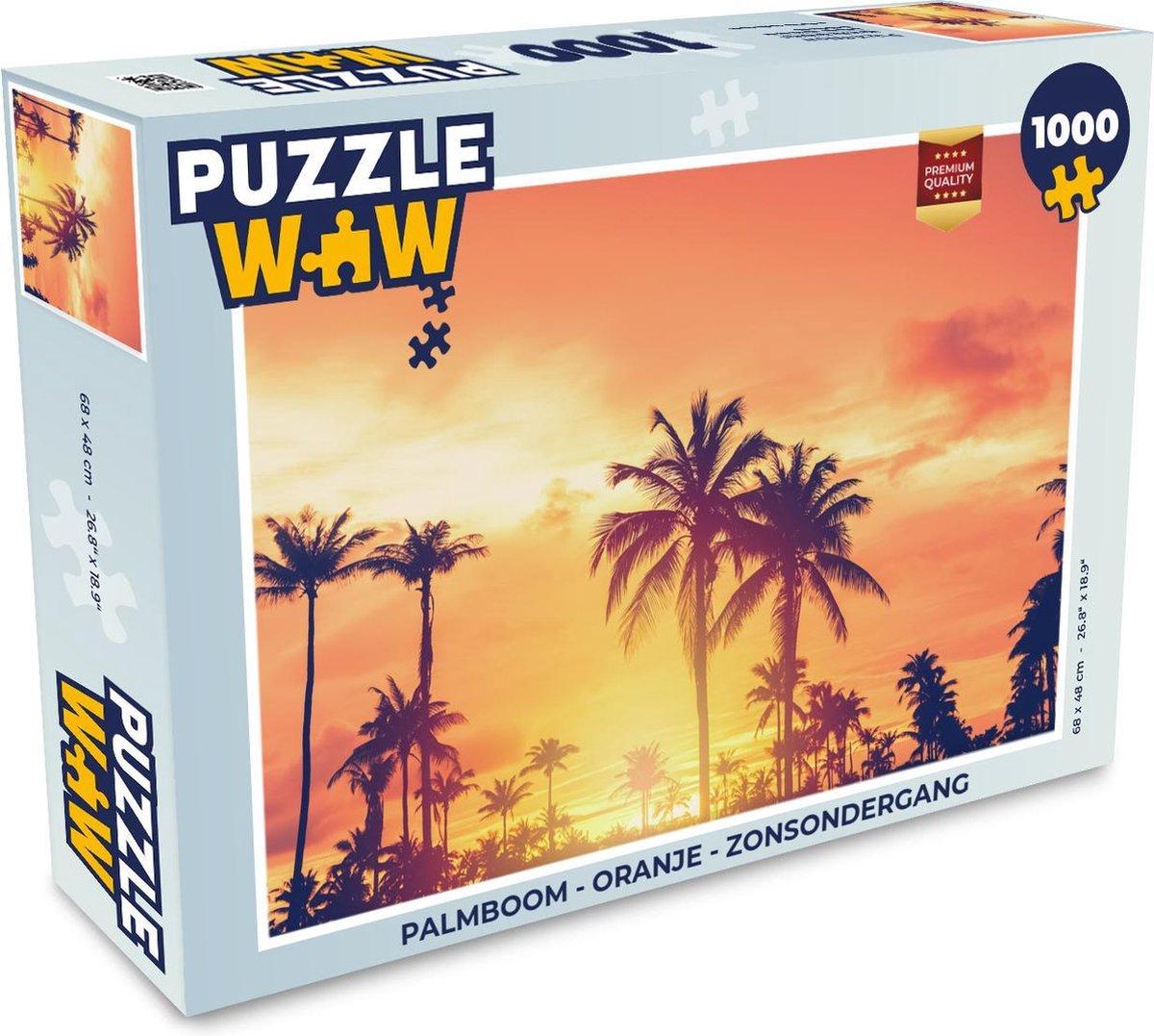 Puzzel Palmboom - Oranje - Zonsondergang - Legpuzzel - Puzzel 1000 stukjes volwassenen