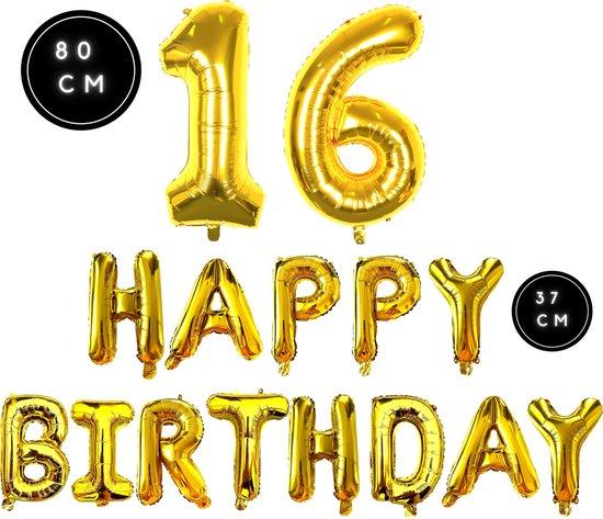 Happy Birthday - Ballonnen - Goud - 16 Jaar - Happy Birthday Slinger - Verjaardag Ballonnen - Happy Birthday Decoratie - Happy Birthday Versiering - Happy Birthday Letters - Fienosa