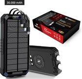 Solar Powerbank 30000 mAh voor Iphone en Samsung Wireless Charger - met USB C Micro USB en Lightning - Zwart - Tensfact®