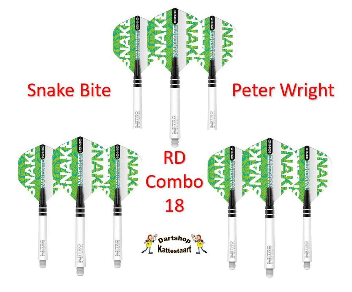 Red Dragon Flights & Shafts Combo 18 Peter Wright Ionic Groen