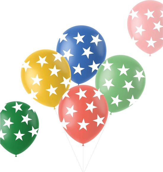 Ballonnen Retro Sterren Meerkleurig 33 cm – 6 stuks