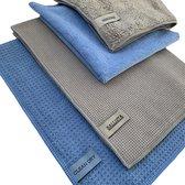 Droogdoek Set 2 Droogdoeken + 2 Microvezel schoonmaakdoeken - Grijs | Blauw