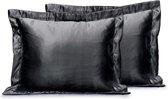 Elegance Beauty Skin Care Kapselsloop - kussenslopen - zwart 60x70cm - 2 stuks - Satijn - Oxford Rand - Beauty kapsel sloop