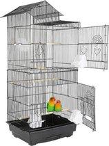 Grote Vogelkooi Inclusief Voerbakken, Zitstokken & Schommel - Voliere - Papegaaienkooi - Parkietenkooi - Vogelkooien Voor Binnen - Vogelkooi Met Standaard - Flanner® - Zwart