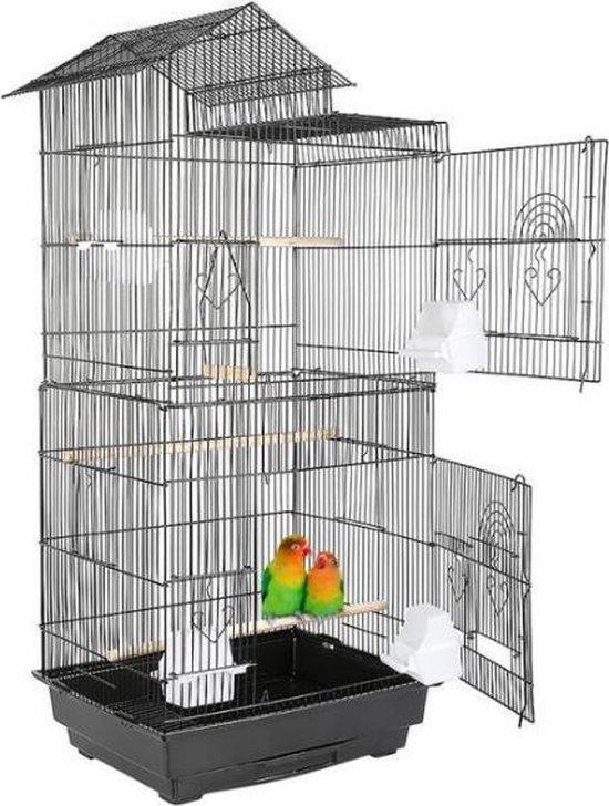 Grote Vogelkooi Inclusief Voerbakken, Zitstokken & Schommel - Voliere - Papegaaienkooi - Parkietenkooi - Vogelkooien Voor Binnen - Vogelkooi Met Standaard - Flanner®