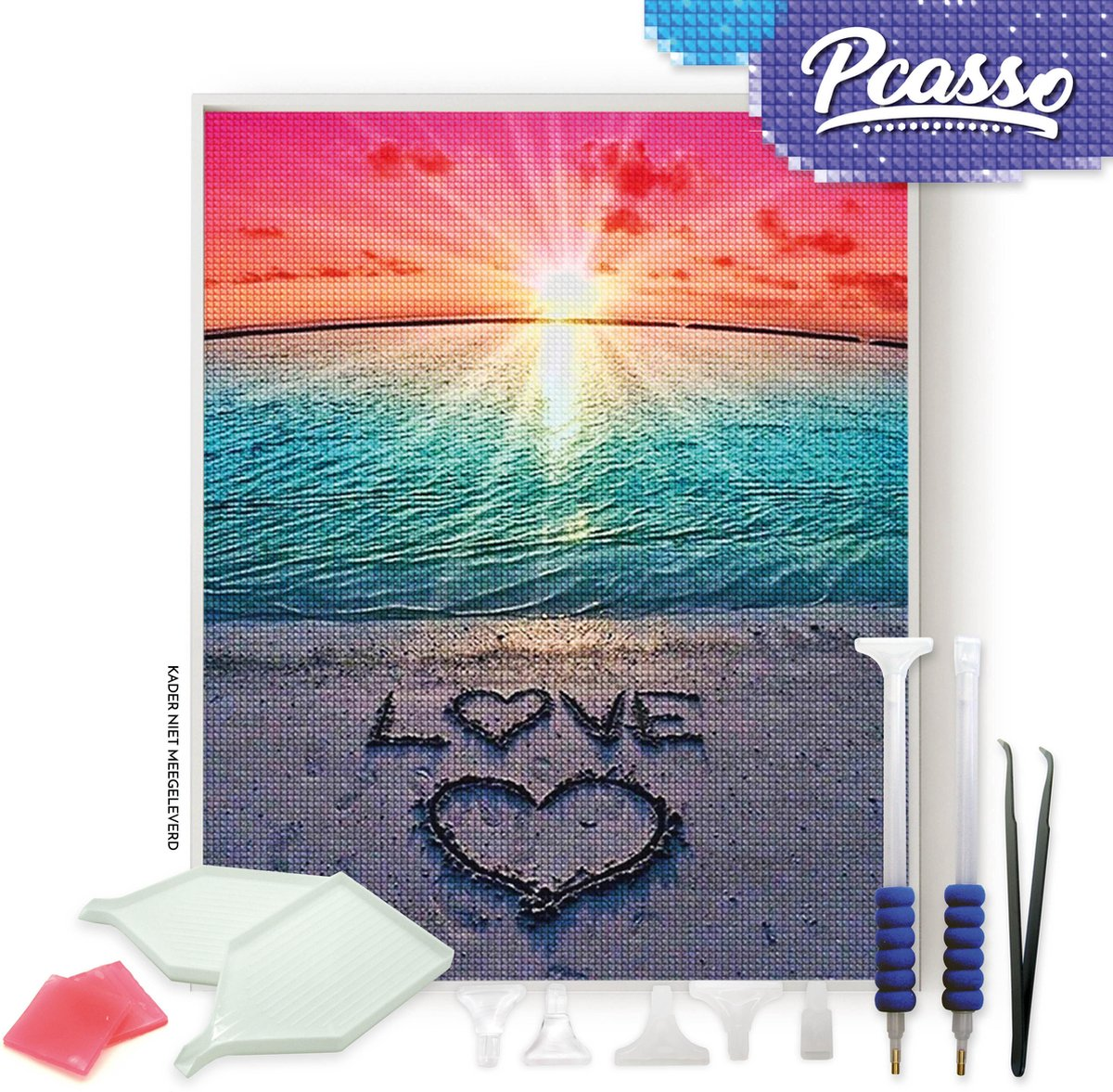 Pcasso ® Love Strand - Diamond Painting - Incl. Veel Diamond Painting Accessoires - Diamond Painting Kinderen - Diamond Painting Dieren - Diamond painting volwassenen - 30x40 CM