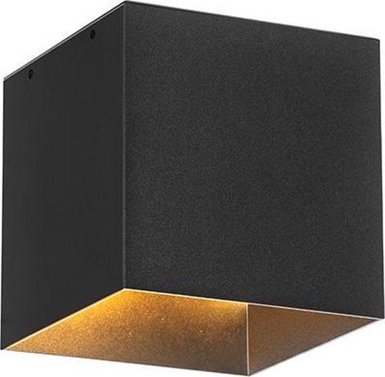 QAZQA charlotte - Moderne LED Wandlamp met Bewegingsmelder | Bewegingssensor | sensor met Solar | Zonne energie Up Down voor buiten - 1 lichts - D 13 cm - Zwart - Buitenverlichting