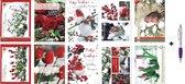 100 Luxe Kerst- en Nieuwjaarskaarten met Pen - 9,5x14cm - 10 x 5 dubbele kaarten met enveloppen - serie Snow