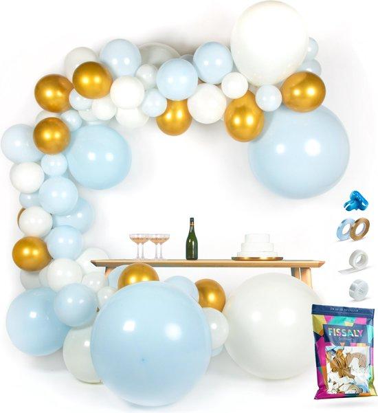 Fissaly® Ballonnenboog Blauw, Wit & Goud – Ballonboog Feest Decoratie Versiering – Verjaardag - Helium & Latex Ballonnen Boog