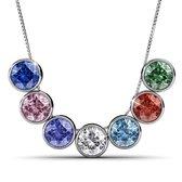 Yolora Kalpa Camaka Elements Dames Ketting Set - Halsketting met 7 hangers, zilverkleurig met kristallen (o.a groen, wit, rood, blauw) - Cadeauset - YO-113