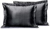 Elegance Skin Care Kapselsloop - Satijnen Kussensloop - Black - Kussenslopen 60x70 Set van 2 - Oxford Rand - Beauty kapsel sloop
