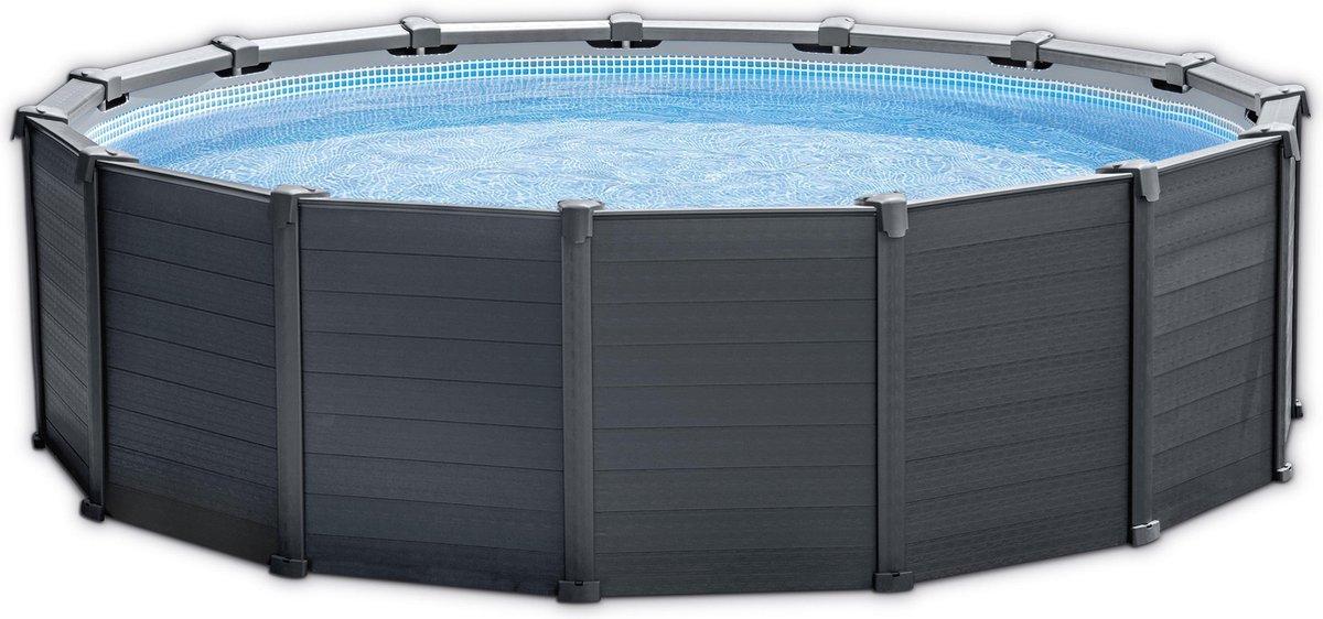 Intex Graphite Panel Pool 478x124 cm met zandfilter, ladder, afdek- en grondzeil