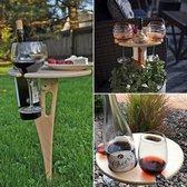 Opvouwbare wijntafel -  Hapjestafel - Bijzettafel - Tuintafel - Glashouder - Wijntafel - Wijn accessoires - Picknicktafel