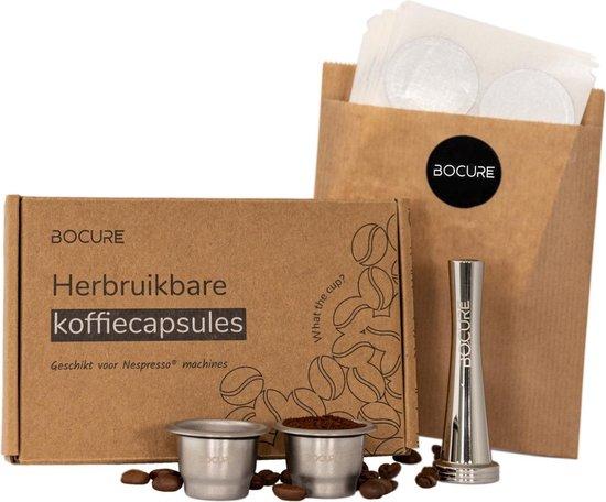 BOCURE herbruikbare koffie/thee capsules voor Nespresso - set   2 cups