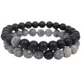 AWEMOZ® Natuursteen Armbanden - Contrast Kralen Armbandjes - Zwart/Antraciet - Sieraden